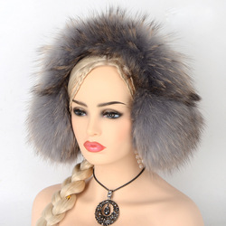 JKP New really raccoon fur earmuffs earmuffs lovely fur warm ear cover With headphones Can answer the phone