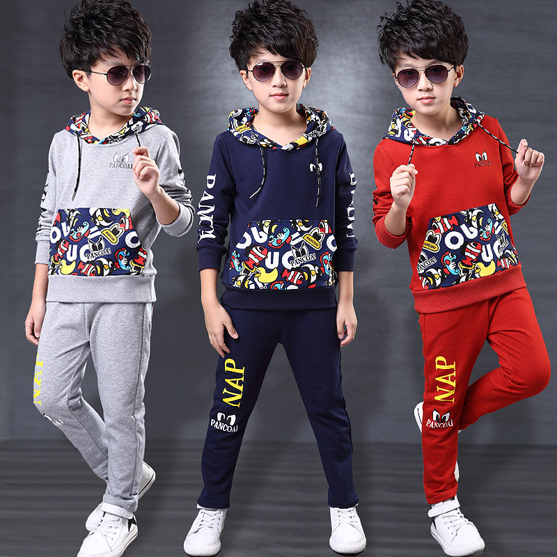 Boys Clothes Set Winter Hoodes +Pants Two-pieces Suit Cotton Teenage Costume Children Clothing Sets New Year Jersey 4to 14 Years teenage girls clothes sets camouflage kids suit fashion costume boys clothing set tracksuits for girl 6 12 years coat pants