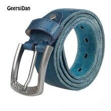 GEERSIDAN 2018 New Blue Belts For Men 100% Genuine Leather Cowskin Black Belt pin Buckle High Quality Business Male Men's Belts цена
