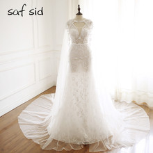 saf sid Sexy V-neck Backless Lace Mermaid Wedding Dresses