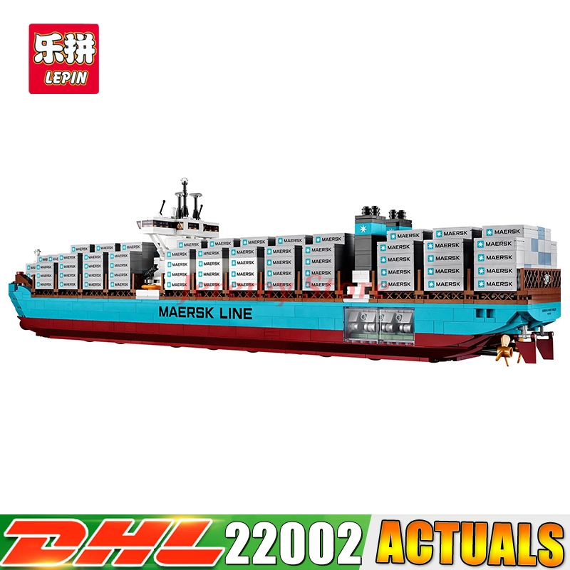 2018 DHL Lepin 22002 Technic Series The Maersk Cargo Container Ship Set Educational Building Blocks Bricks Model Toys Gift 10241 lepin 16042 2344pcs building blocks set new pirate ship series the slient mary set model gift 71042 educational christmas toys