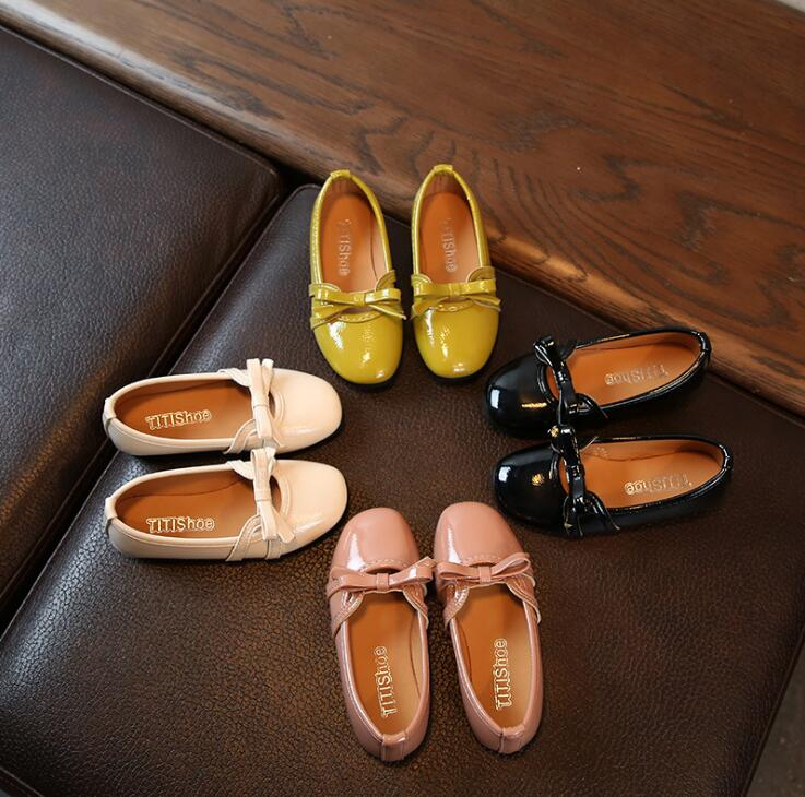 Size 21-36 Newest Autumn Girls Leather Shoes Children Baby Princess Bowknot Sneakers Little Girl Single Shoes Kids Dance Shoes