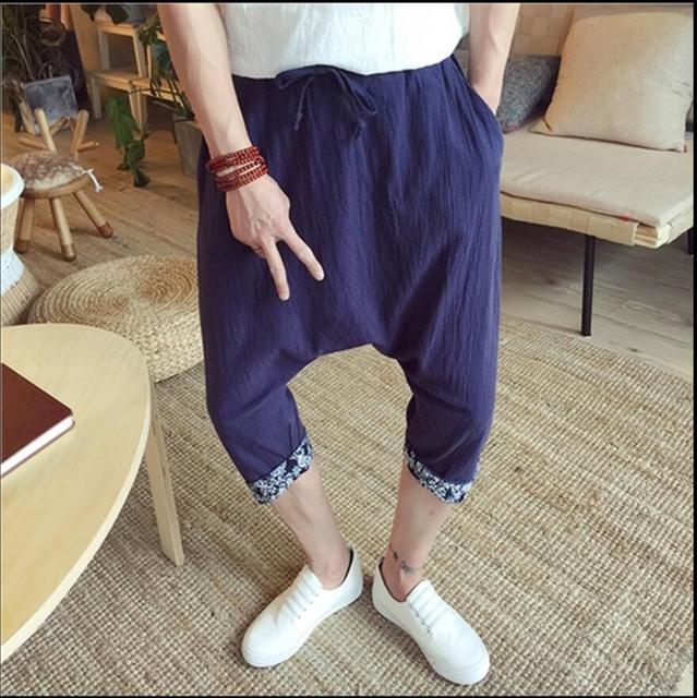 L-5XL Лето Новый Хлопок белье брюки мужские случайные ноги штаны прилив тонкие шаровары свободные брюки теленка длина брюки крест брюки