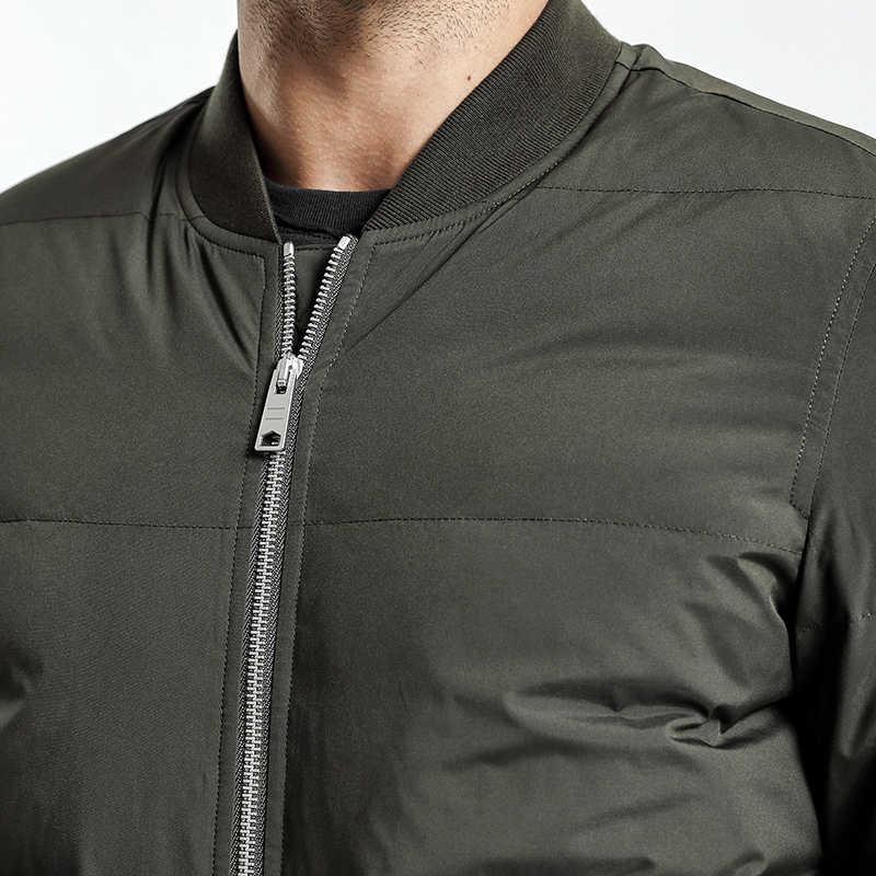 Мужская пуховая куртка-бомбер SIMWOOD, зимняя куртка с 90% наполнением белым утиным пухом, 2019, приталенная демисезонная парка черного цвета, пуховик батальных размеров, YR017004