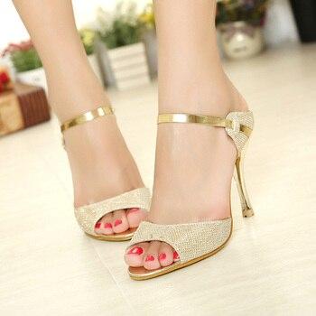 Women Heel Sandals Peep Toe High Heel Sandals Women Pumps Female Sandals Thin Heels Ladies Sandals Wedding Shoes Gold Silver sandal