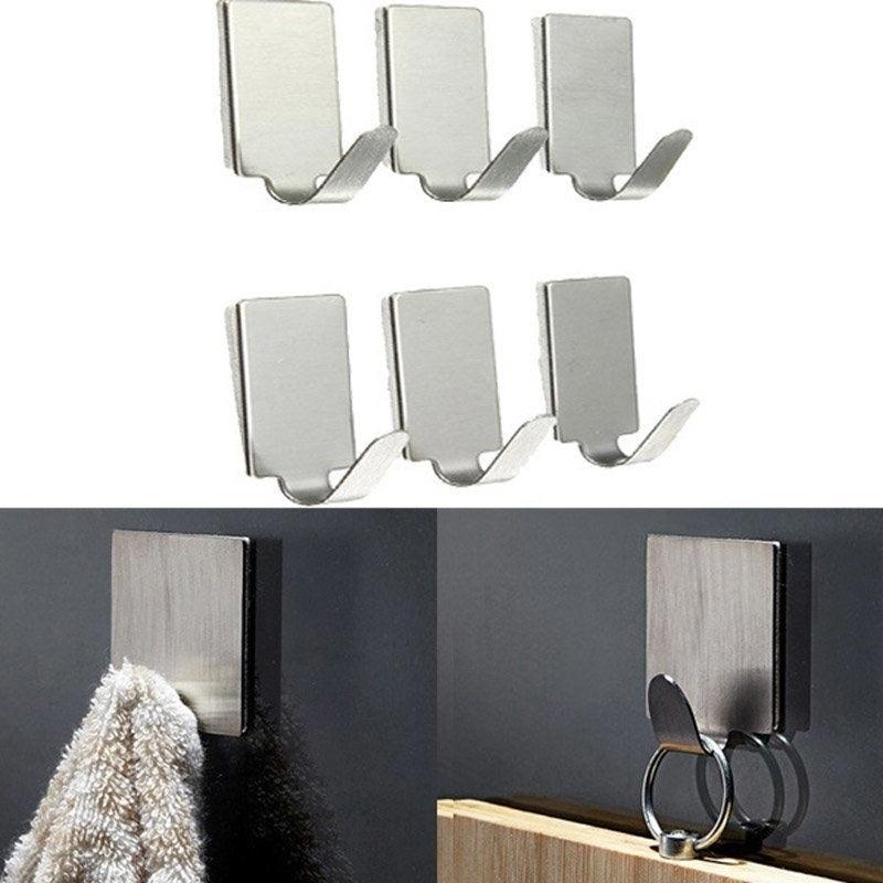 6Pcs Wall Hook Hanger Stainless Steel Self Adhesive Stick Door Convenient Hook for Kitchen Bathroom Hats Bag Key Hanger