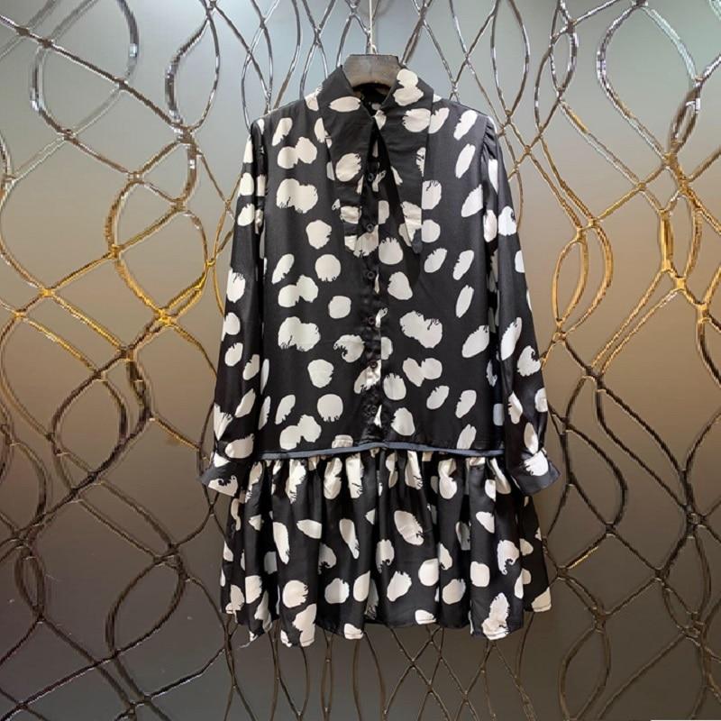 Femmes 2019 Turn À Qualité Robes Été Collar Robe Rue Casual Manches Longues Haute Volants Imprimer down Printemps Piste q04C4w