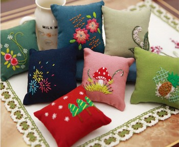 10cm needle ball Flower plant Ribbon embroidery kit small pictures stamped canvas fabric embroidery needlework home decoration embroidery