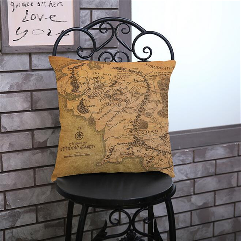 Linen Cotton Seat Cushion World Map Decorative Cushion For Sofa Car Home Decor Throw Pillow 45x45 Cm