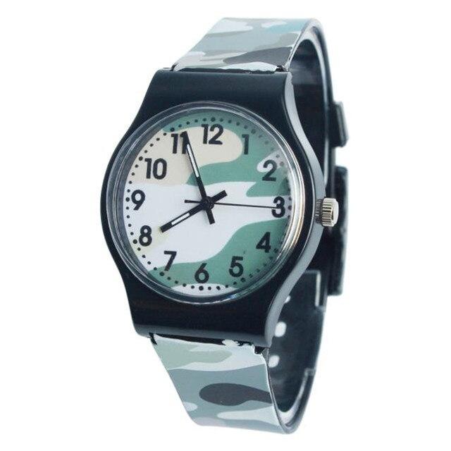 Fashion Camouflage Children Watch Quartz Wristwatch For Girls Boy Silicone Strap
