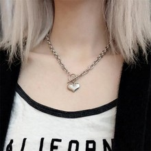 Punk Hip Hop Women Jewelry Silver Color Heart Shape Pendant Necklace Brand New Stainless Steel Chain Friendship Gifts
