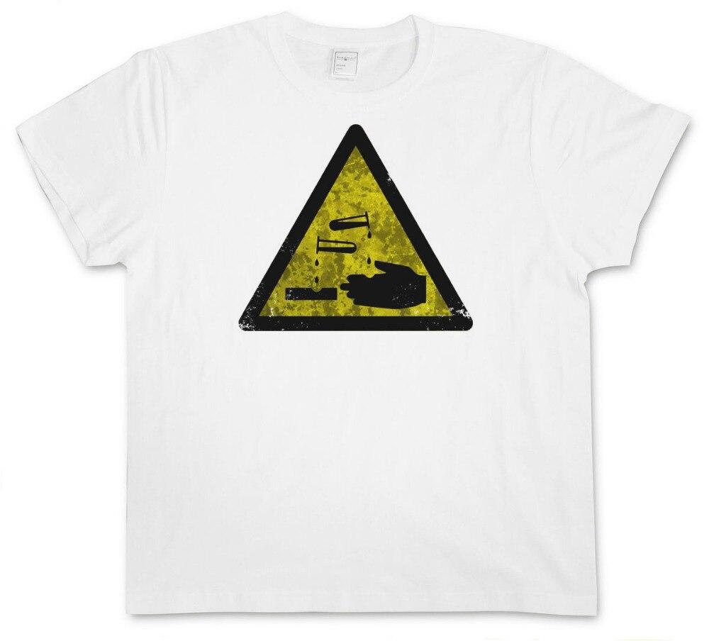 Внимание кислоты старинные Логотип Знак Футболка-Предупреждение опасность агрессивных ChemistryPrint топы; футболка в стиле хип-хоп