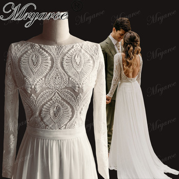 Mryarce Unique Lace Long Sleeves Open Back Hippie Style Wedding Dress Chiffon Detachable Train Boho Chic Rustic Bridal Gowns