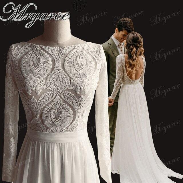 Mryarce ייחודי תחרה ארוך שרוולי גב פתוח Hippie סגנון חתונת שמלת שיפון נתיק רכבת Boho שיק כפרי כלה שמלות