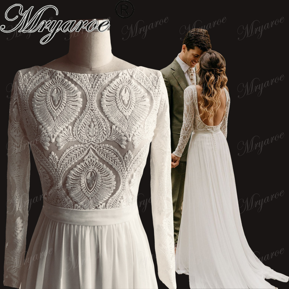 Mryarce Unique Lace Long Sleeves Open Back Hippie Style Wedding Dress Chiffon Detachable Train Boho Chic Rustic Bridal Gowns