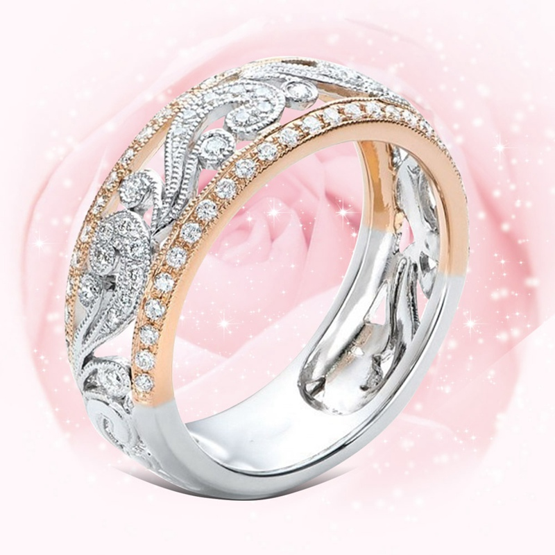 Hollow Two-tone Color Rose Gold Flower Cubic Zirconia Ring for Female Fashion Popular Rhinestone Wedding Rings for Women