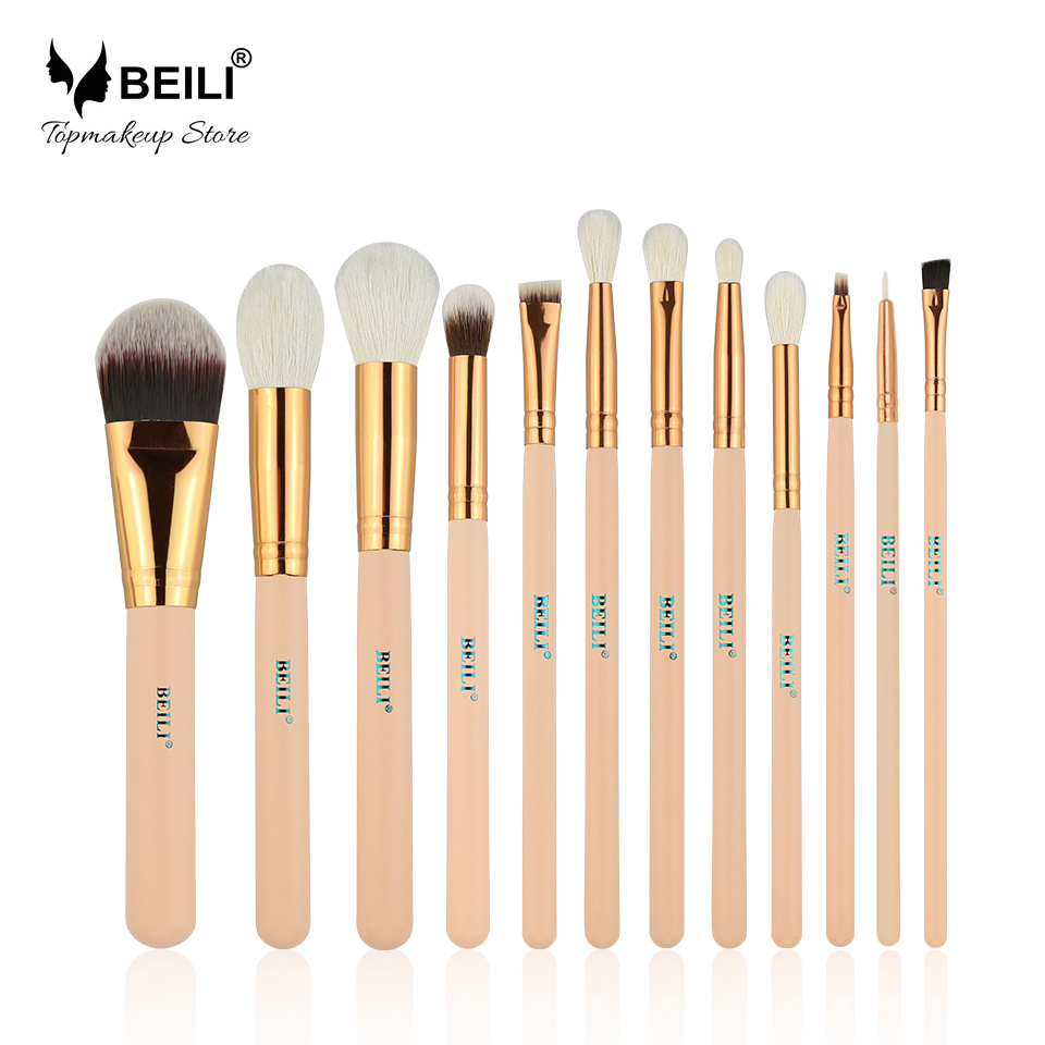 Beili pink 12 pcs rose emas alami rambut kambing premium yayasan eye shadow blush on bubuk stabilo makeup sikat set