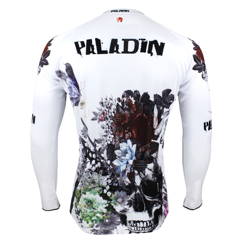 Free shipping Flowers and Skull Men Long Sleeve Cycling Jersey Ciclismo  Ropa Polyester Bicycle Apparel White Cycling Clothing-in Cycling Jerseys  from Sports ... 196966ee2