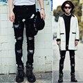 Рваные джинсы Хип-Хоп джинсы мужская мода байкер джинсы отверстие прямые джинсы бренд Kanye West swag брюки Дэвид Бекхэм стиль