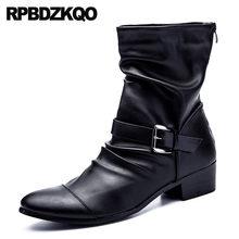 Ankle Herbst Designer Italienische Kurze Männer Chunky Stilvolle Schwarz  Schuhe Full Grain Leder Echtes Zipper Vintage Motorrad . 72a195e065