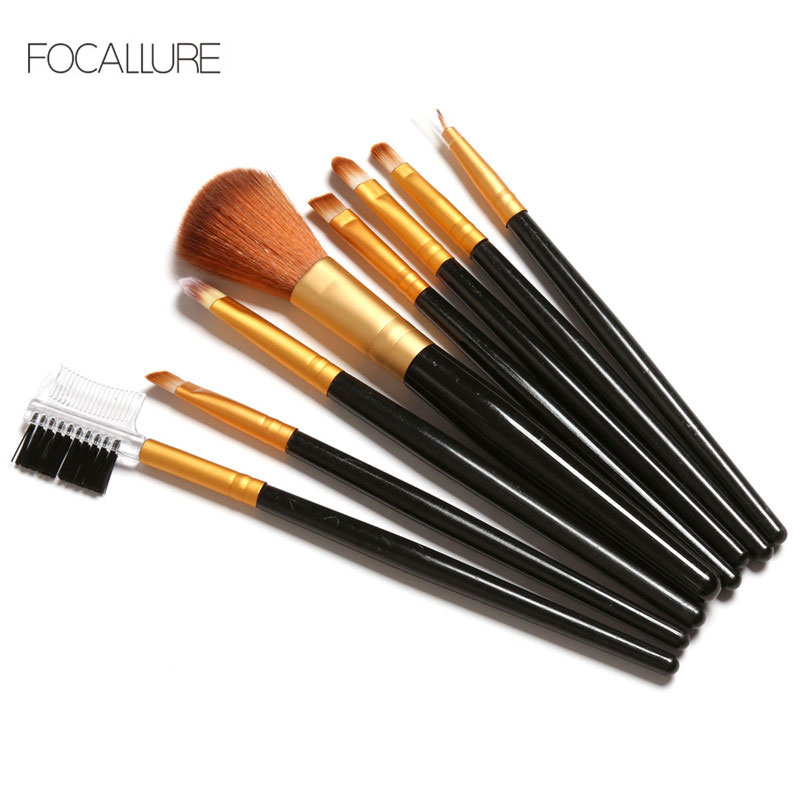 FOCALLURE 8Pcs Professional Makeup Brushes Set Cosmetics Foundation Brush Tools For Face Powder Eye Shadow Eyeliner Lip Kits цена 2017