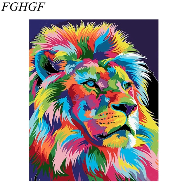 fghgf frameless colorful lion painting by numberspictures digital
