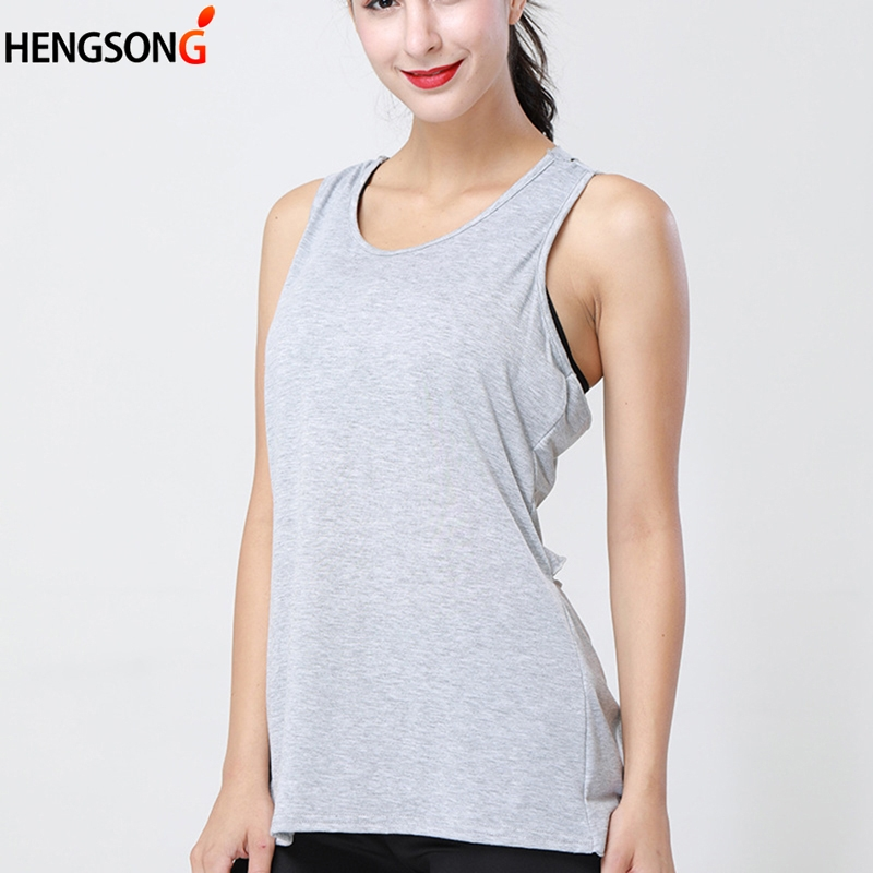 Hengsong Summer New Women's Sexy Back Hollow Cross Sleeveless Vest Solid Color Female Tank Light Grey White 722343