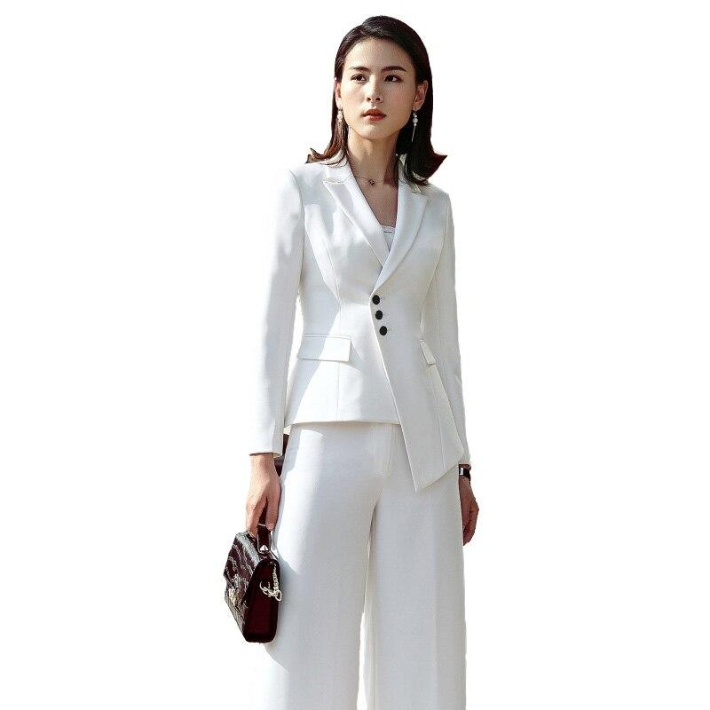 2018 Anzug Frauen Neue Mode-business Interview Host Overalls Anzug Breitbeinig Hosen Ol Manager Büro Dame Kleidung Moderate Kosten