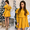 Women Sashes Ruffled a Line Party Dress Ladies Long Sleeve O Neck Elegant Dress 2019 Female autumn Solid Mini Dress 1