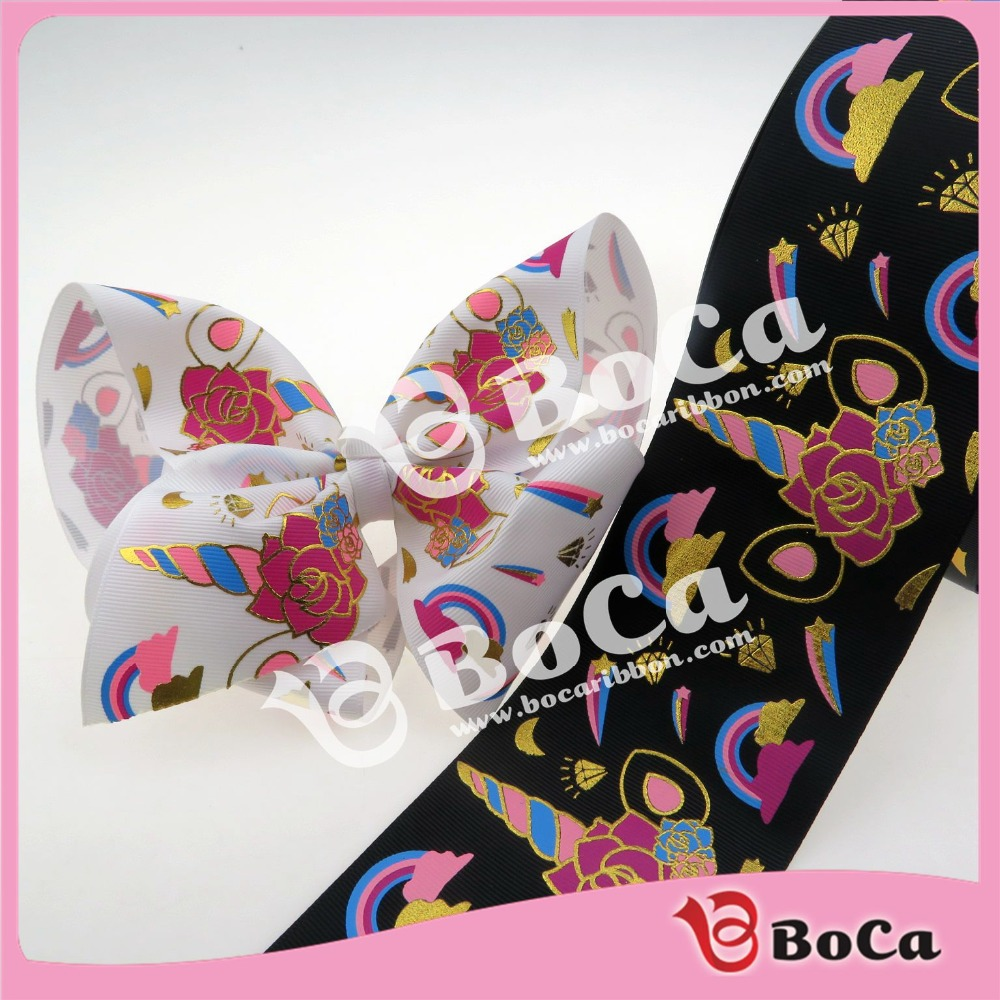 """50 yards/lot  , New design 3"""" gold  foil unicorn  printed  with  ink printing  grosgrain ribbon, very beautiful for big bows-in Webbing from Home & Garden    1"""