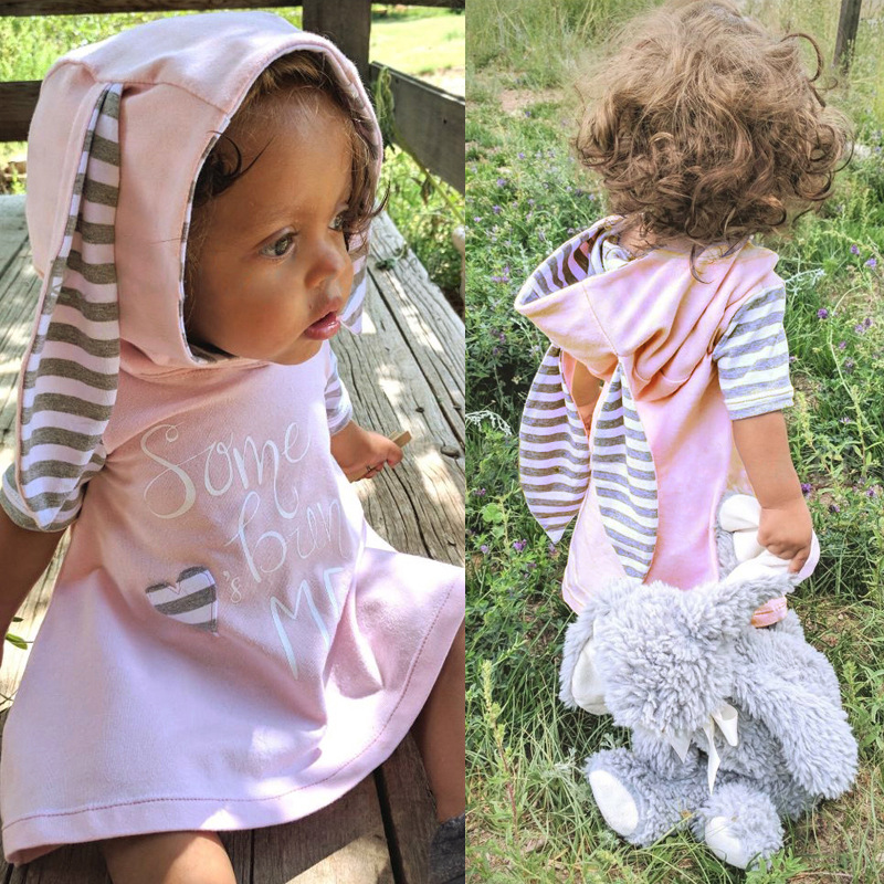 Toddler Newborn Girls Dress Rabbit Ears Cartoon Print Heart Letter Warm Hooded Dress Outfit Clothing New Year's Costume hooded 3d galaxy print dress