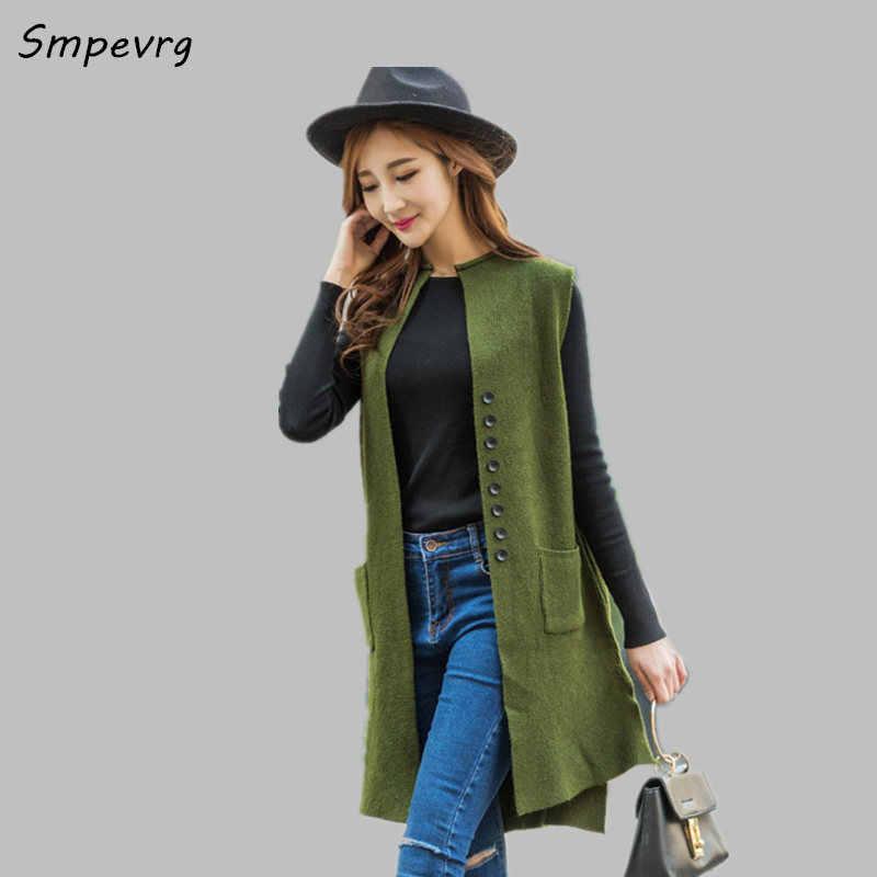 Smpevrg весна-осень новые женские кардиганы женские длинный жилет без  рукавов кашемировые свитера женские свитера 88fb90da11e