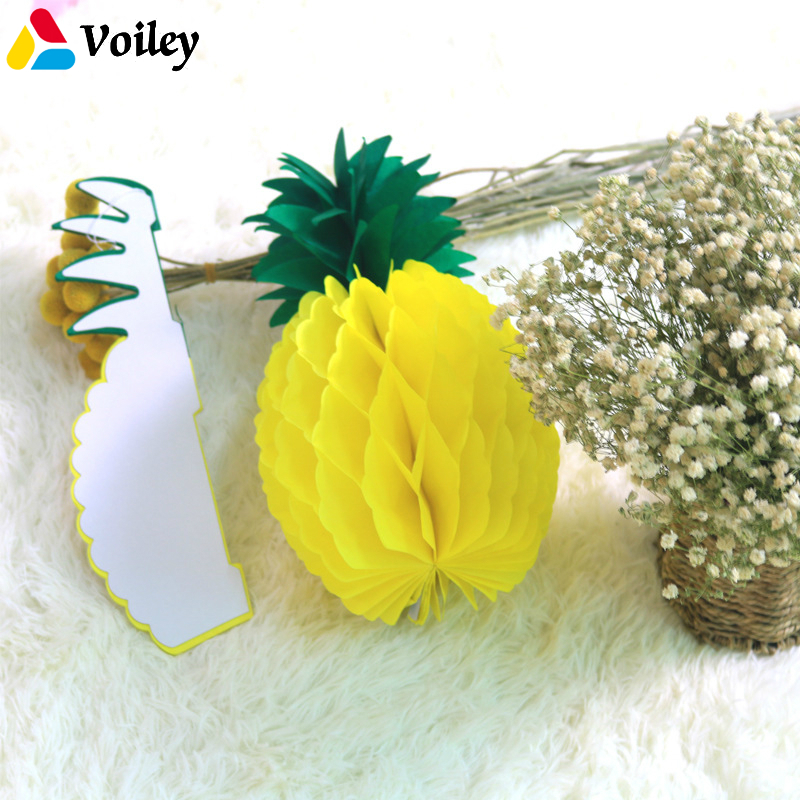 Summer Party Diy Decoration 10pcs/lot Yellow Honeycomb Pineapple Table Centerpiece Beach Pool Luau Tropical Birthday Wedding,5