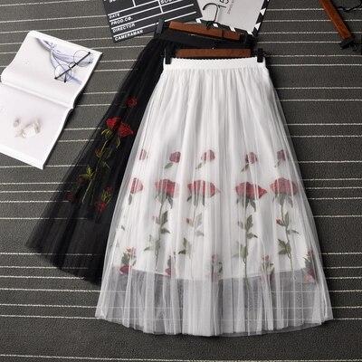 Fashion Pleated Skirt Women Summer 2019 Vintage Rose Embroidery Mesh Tutu Skirt Bohemian A-Line Beach Skirt Female Saia Faldas