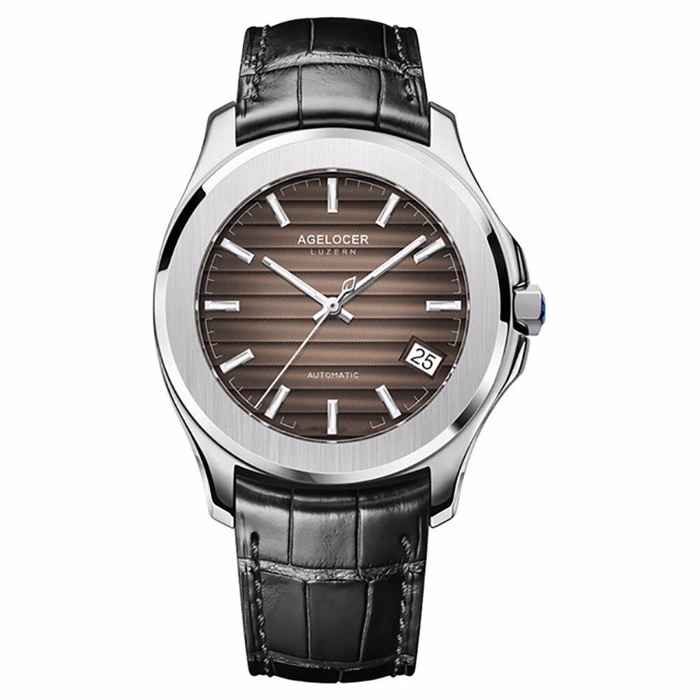 Agelocer Лидирующий бренд Роскошные автоматические часы для Для мужчин Сталь коричневый циферблат часы кожаный ремешок Сталь аналоговые часы