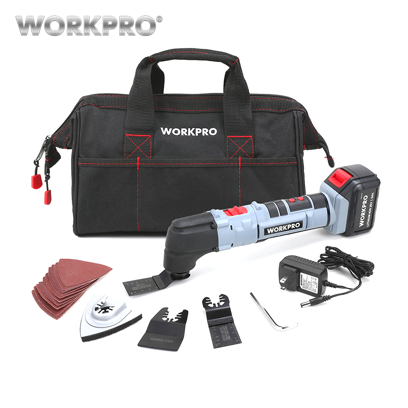 WORKPRO 20 V de potencia herramienta oscilante conjunto de iones de litio de herramientas para el hogar DIY renovación herramientas eléctrica Trimmer VI