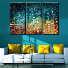 3 Panel Hand Painted street tree Oil Painting wall art picture canvas painting Artwork decor for Living Room hotel