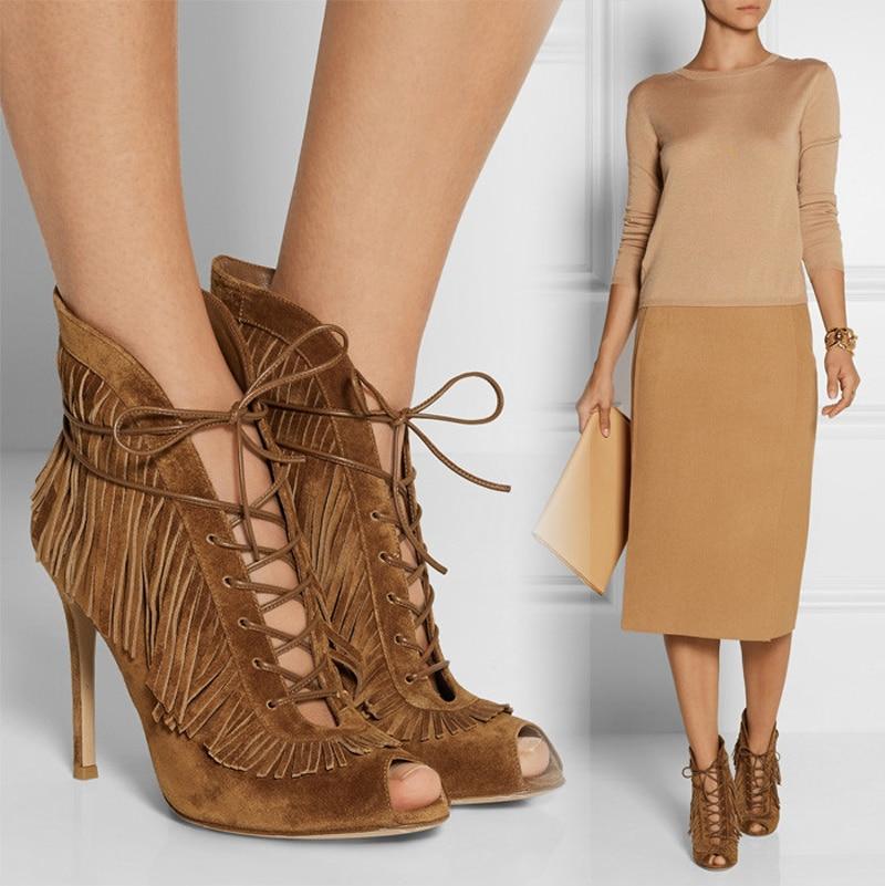ФОТО women pumps brand designer 2016 thin high heels shoes genuine leather lace up peep toe shoes fashion tassel decoration pumps
