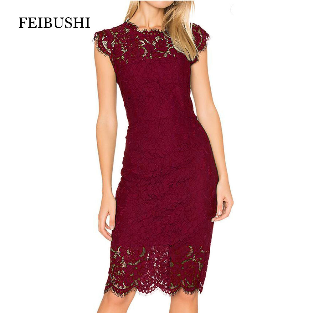 FEIBUSHI Elegant Wedding Party Lace dresses women Black Retro Tunic Slim Work Business Casual Party Bodycon Pencil Dress in Dresses from Women 39 s Clothing