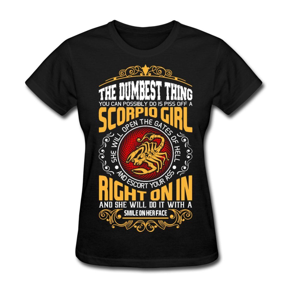 US $13.04 13% OFF|Zodiac Scorpio Girl Funny Quote Women\'s T Shirt Funny  Cotton Casual Tee Shirt Femme Western Style Shirt Kawaii T Shirt Lady-in ...