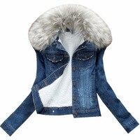 Various Style velvet thick denim jacket female winter big fur collar Korean locomotive lamb coat female student short coat