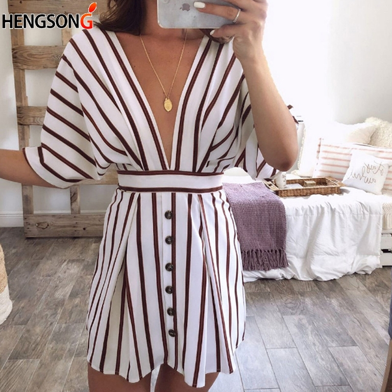 Women Party Dress Summer Striped Backless Lace Up Dresses Sexy Deep V-neck Short Mini Dress With Sashes Vestidos Verano Fashion