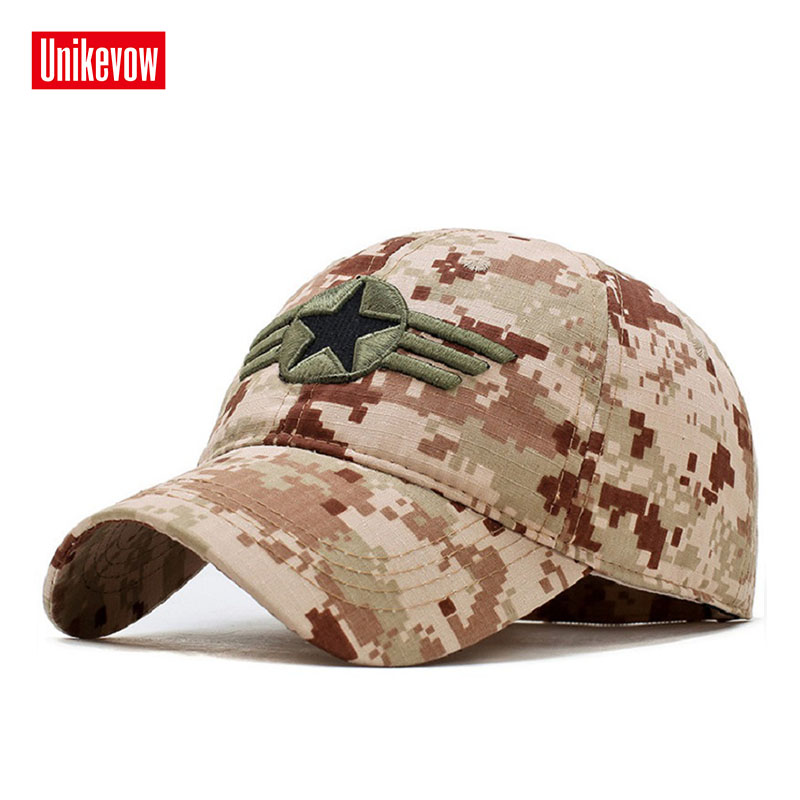 UNIKEVOW New arrivel Camouflage   baseball     caps   Casual hat with 3D star Outdoor   caps   for men and women sport hats