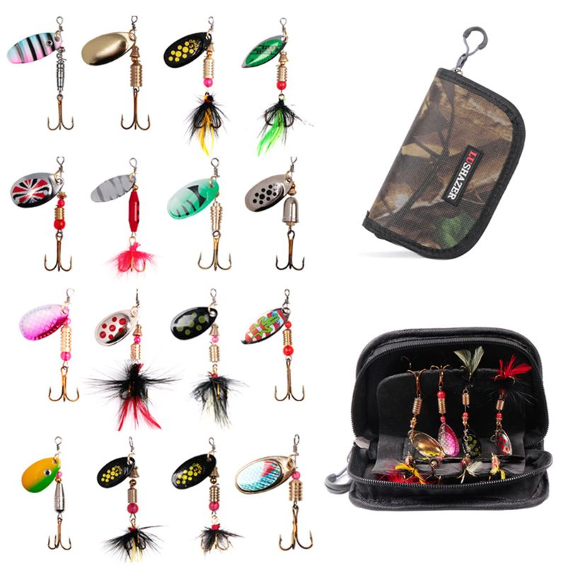 16 Pcs/set Spinning Hooks Fishing Bait Metal Jig Sequins Equipment Bag Freshwater Fish Fake Bionic Baits G6KF(China)