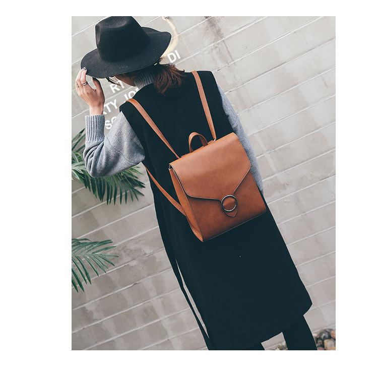 retro moda cuero mujer femenino mochila bolso 2018 mochila pu X7Z4x4w