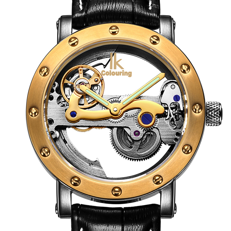 IK colouring Hollow Skeleton Automatic Mechanical Watches Mens Top Brand Luxury Business Full Steel Winner Wristwatch Clock HourIK colouring Hollow Skeleton Automatic Mechanical Watches Mens Top Brand Luxury Business Full Steel Winner Wristwatch Clock Hour