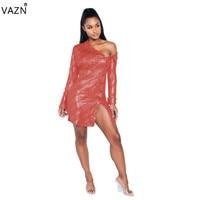 VAZN 2019 Hot Fashion Sexy Solid 3 Colors Bodycon Dress Ladies Full Sleeve Irregular Mini Dress Lady Plus Size Dress SMR9147
