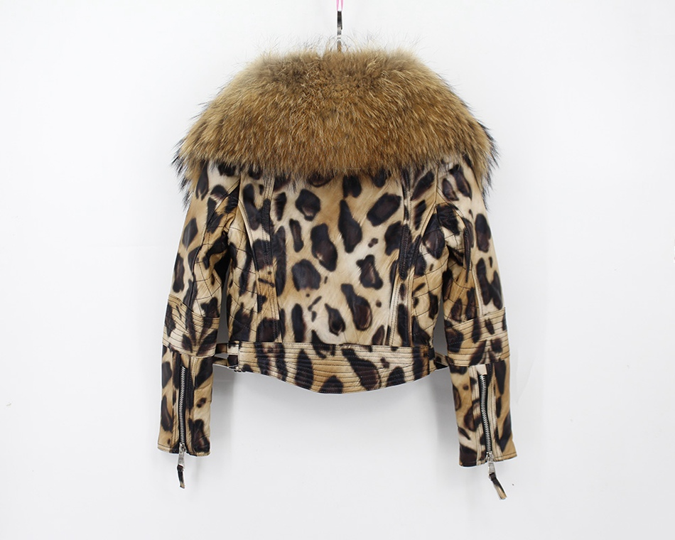 women 100% genuine sheepskin leather jacket with big raccoon fur collar  (3)