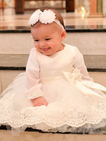 White Baby Girls Long Sleeve Christening Gown with Bow with Headband Baptism Dress