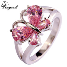 lingmei Lady Fashion Pink CZ Silver Color Ring Size 6 7 8 9 10 11 Jewelry Beautiful Butterfly For Women  Wholesale 905R8